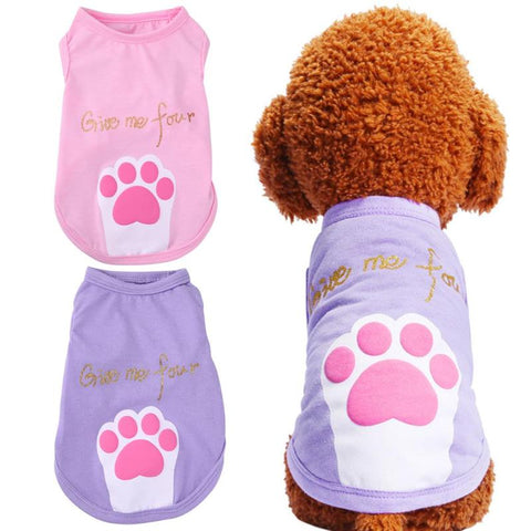 Puppy Summer Clothes Foot Letters Cotton Vest T-shirt for Small Dog Cats Outfit Pet Costume Dog Vest XS-XL Purple Pink - stanomy