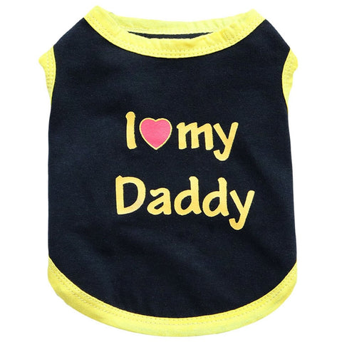 Summer Dog Vest Shirt Clothes Coat Pet Cat Puppy Dog T-Shirt Vests I LOVE MY DADDY MOMMY Clothing For Dogs Costumes XS L