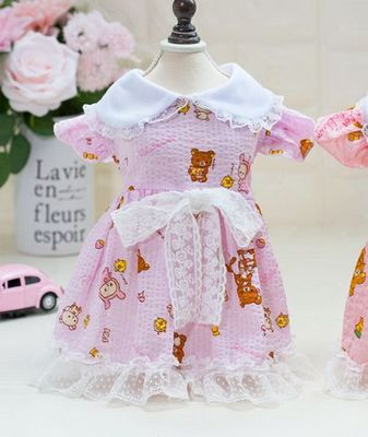 Cool Dog Clothes With Bear Printed Lace Princess Dresses For Dogs
