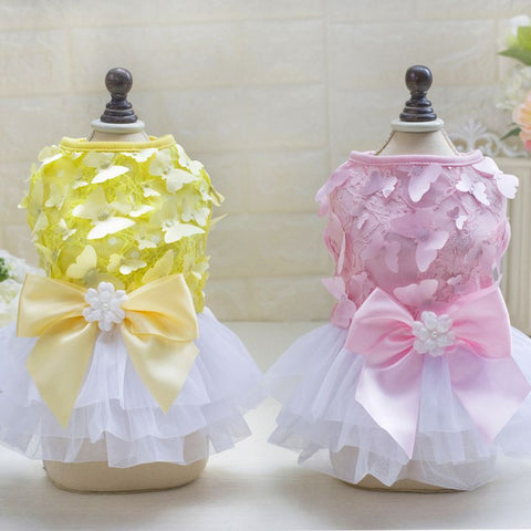 Luxury Princess Dress Dog Clothing Dog Dresses Honden Kleding Chihuahua Tutu Butterfly Yarn Skirt - stanomy