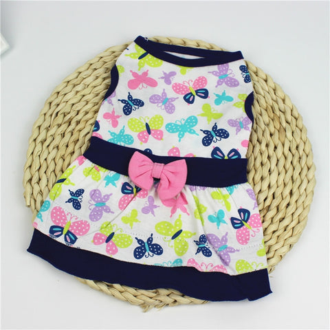 Cute Floral Print Cotton Dog Dresses Clothes For Dog Winter Warm Pet Dog Clothes Soft Puppy Vest Chihuahua Costume For Small Dog - stanomy