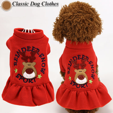 Christmas Deer Pet Dog Clothes Dress Cute New Year Fashion Red Color Puppy Small Animals Clothes Puppy Dot Skirts Costume Goods