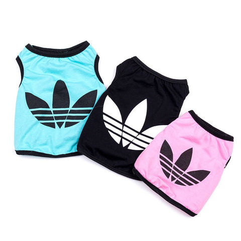 Cheap Clothes Small Dogs Pets Clothing Cotton Clover Summer Dog Clothes Pink Blue Black Dog Shirt Adidog Clothes S M L