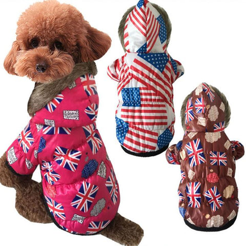 Dog Clothes 4th of July Waterproof Dog Clothes Winter Pet Coat Jacket Cat Clothing Warm Small Dog Cotton-padded Clothes UK&US Flag Costume Hoodie Supply - stanomy