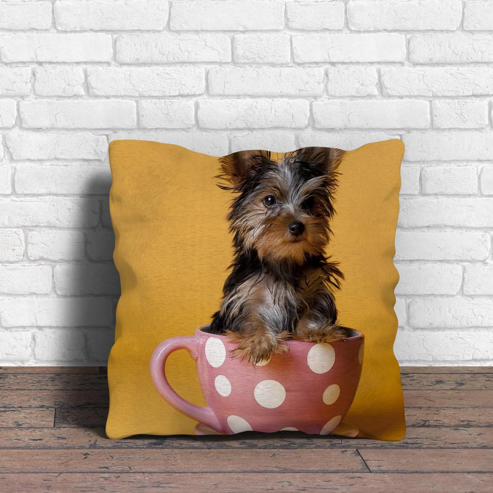 Yorkie in cup Pillow - stanomy