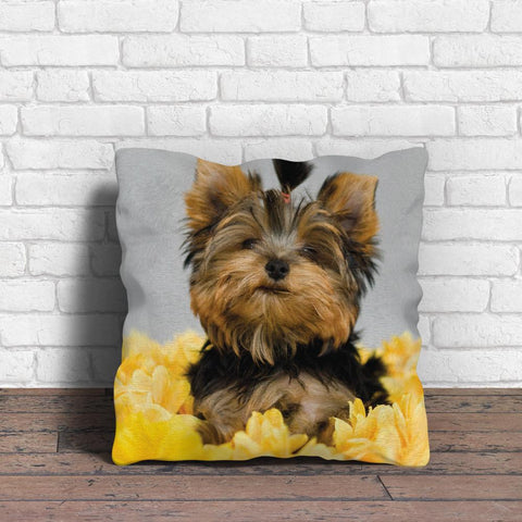 Fully Yorkie and Flowers Pillow - stanomy