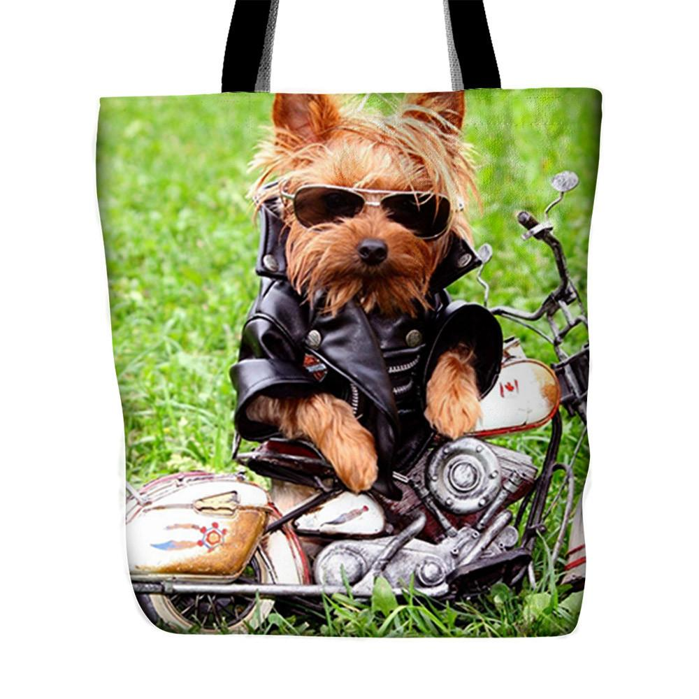 Grass background printed tote bag with Yorkie on bike picture - stanomy