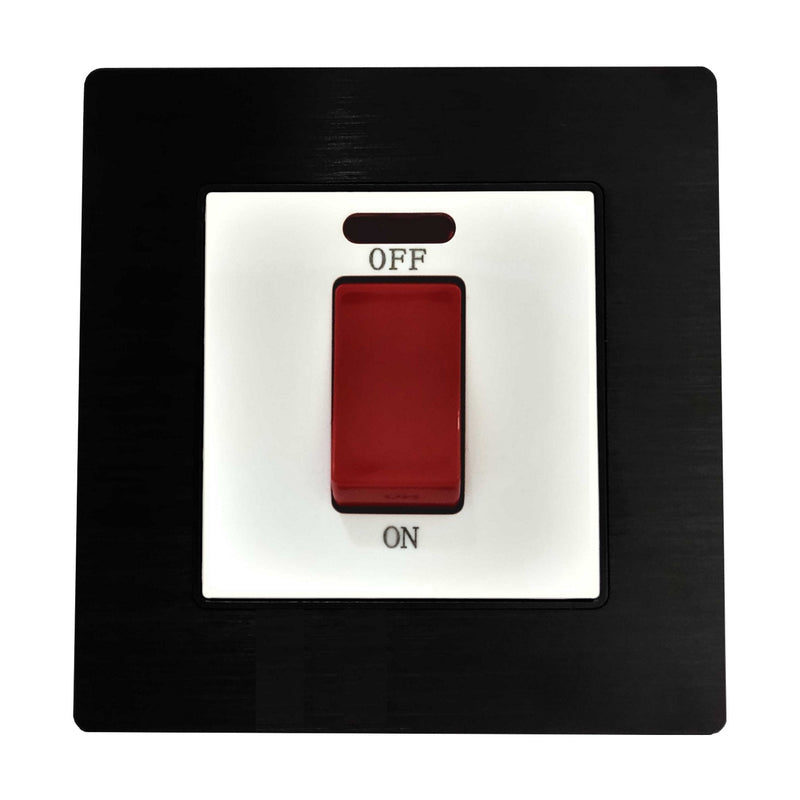 Single 45A Cooker AC Wall Power Switch in Black Brushed Alum Frame & White Centre