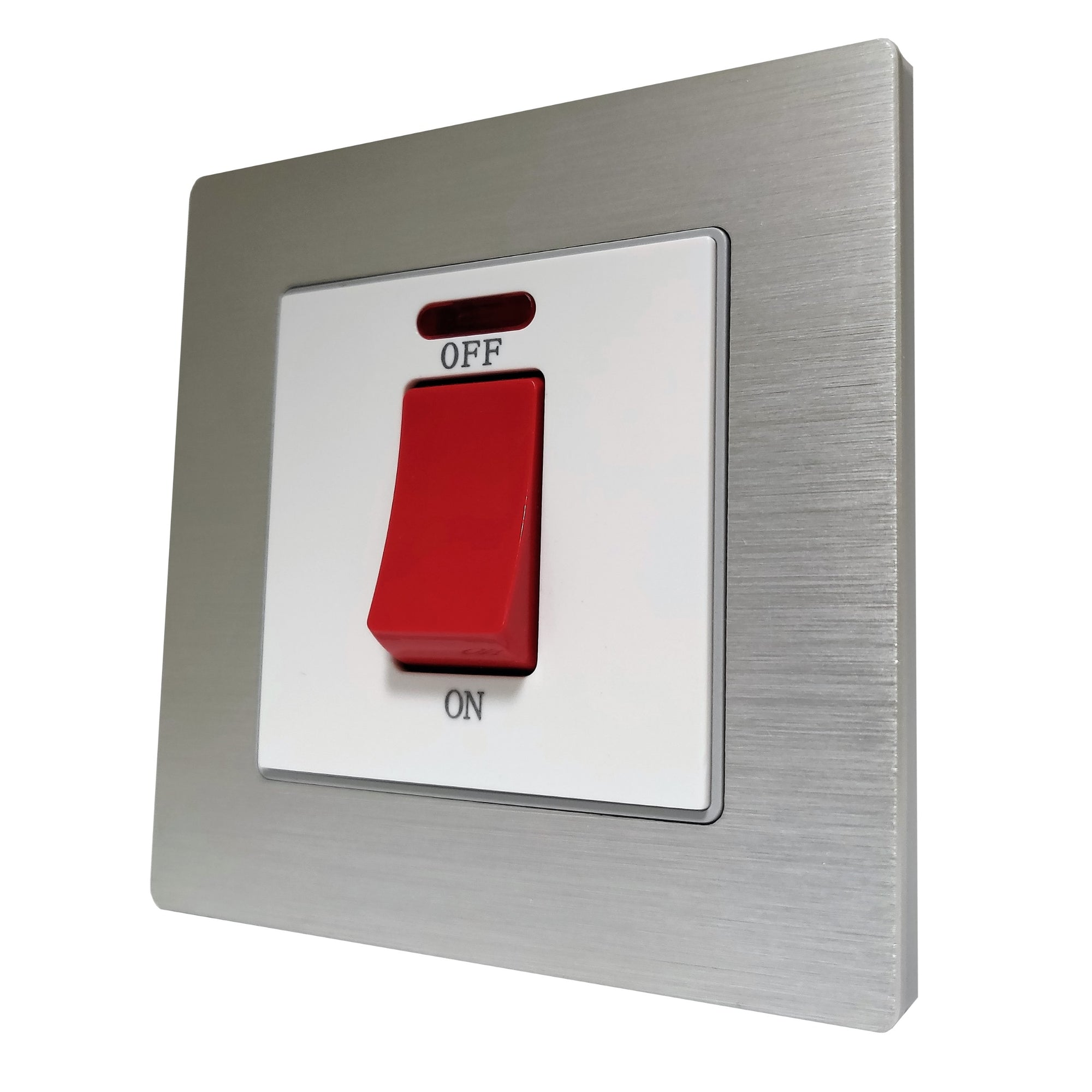 Single 45A Cooker AC Wall Power Switch in Silver Brushed Alum Frame & White Centre