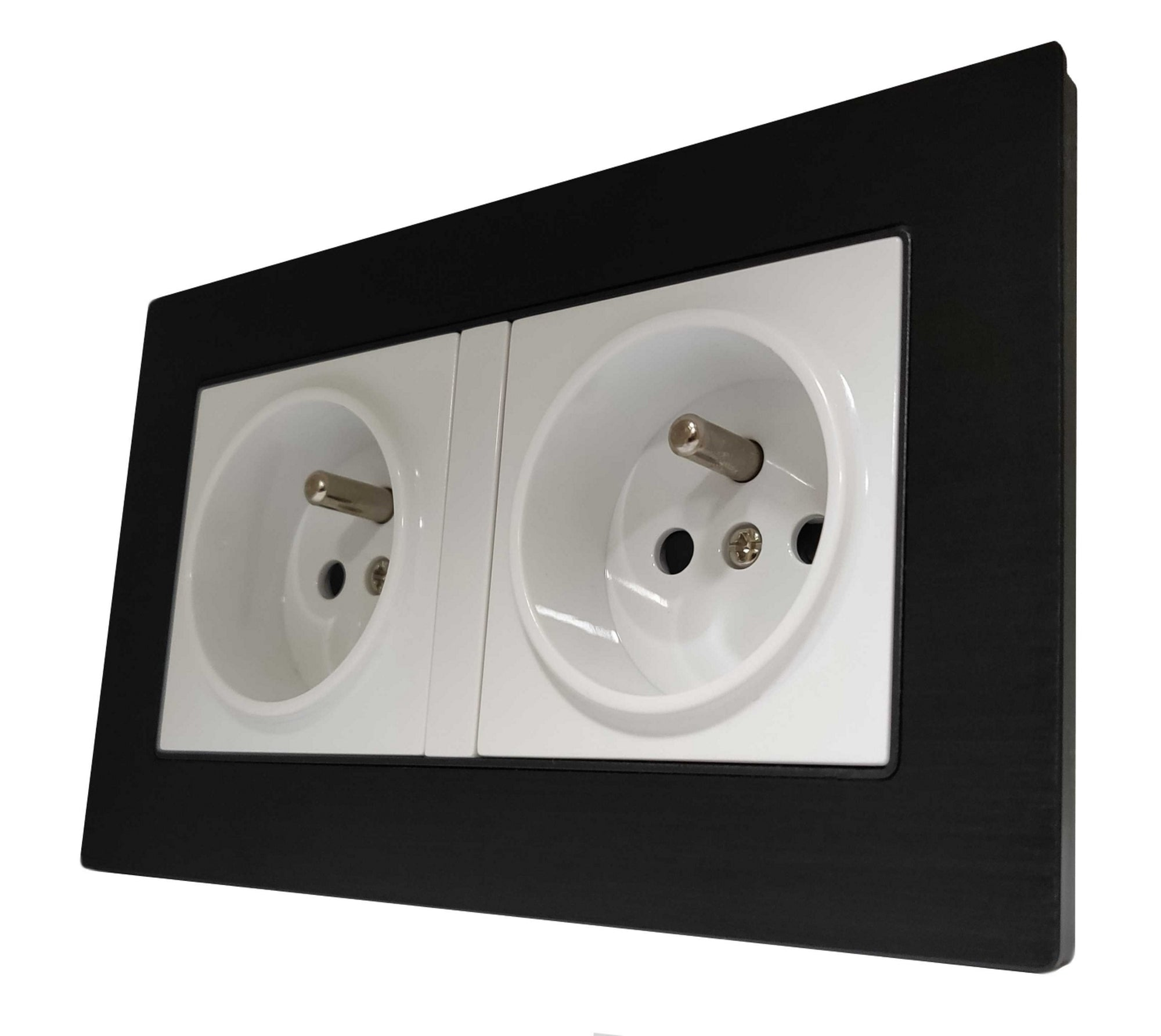 Double French EU 16A 2-Pin AC Wall Power Socket in Black Brushed Alum Frame & White Centre