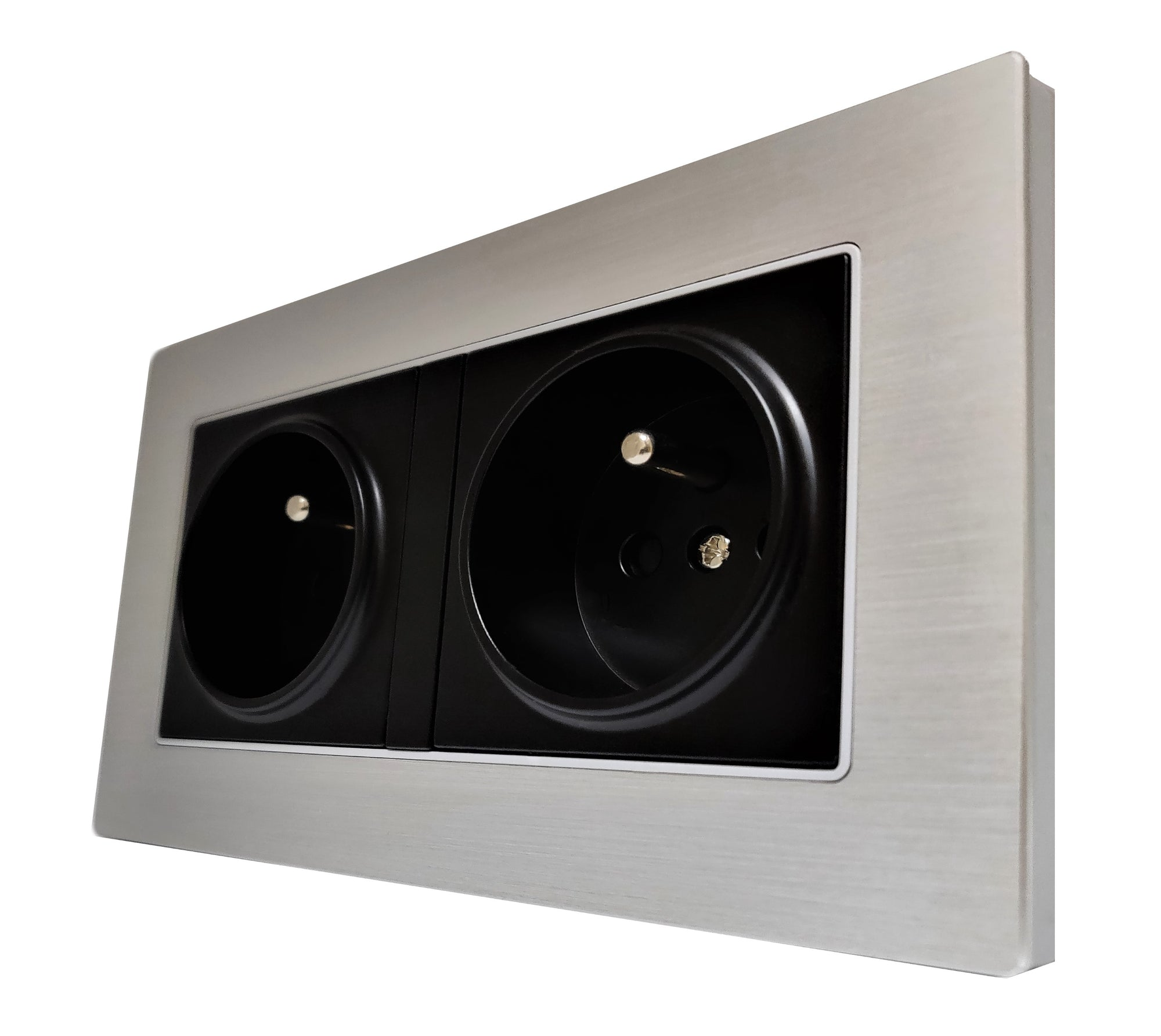 Double French EU 16A 2-Pin AC Wall Power Socket in Silver Brushed Alum Frame & Black Centre