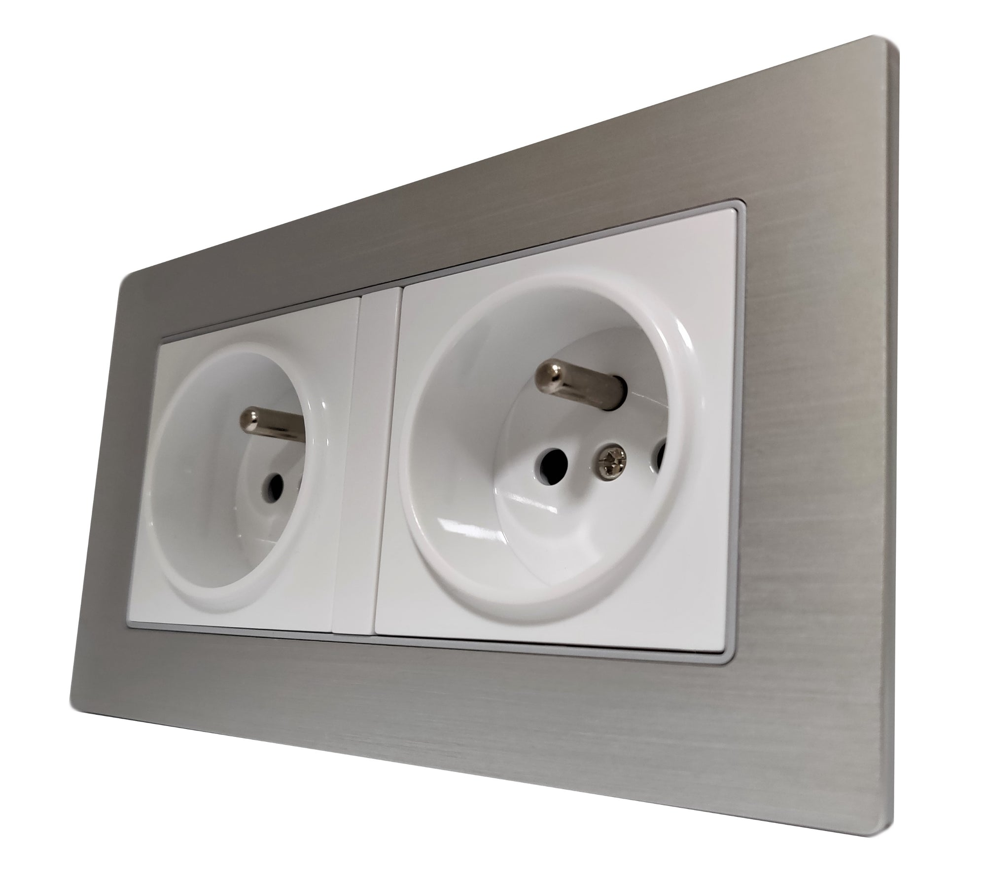 Double French EU 16A 2-Pin AC Wall Power Socket in Silver Brushed Alum Frame & White Centre