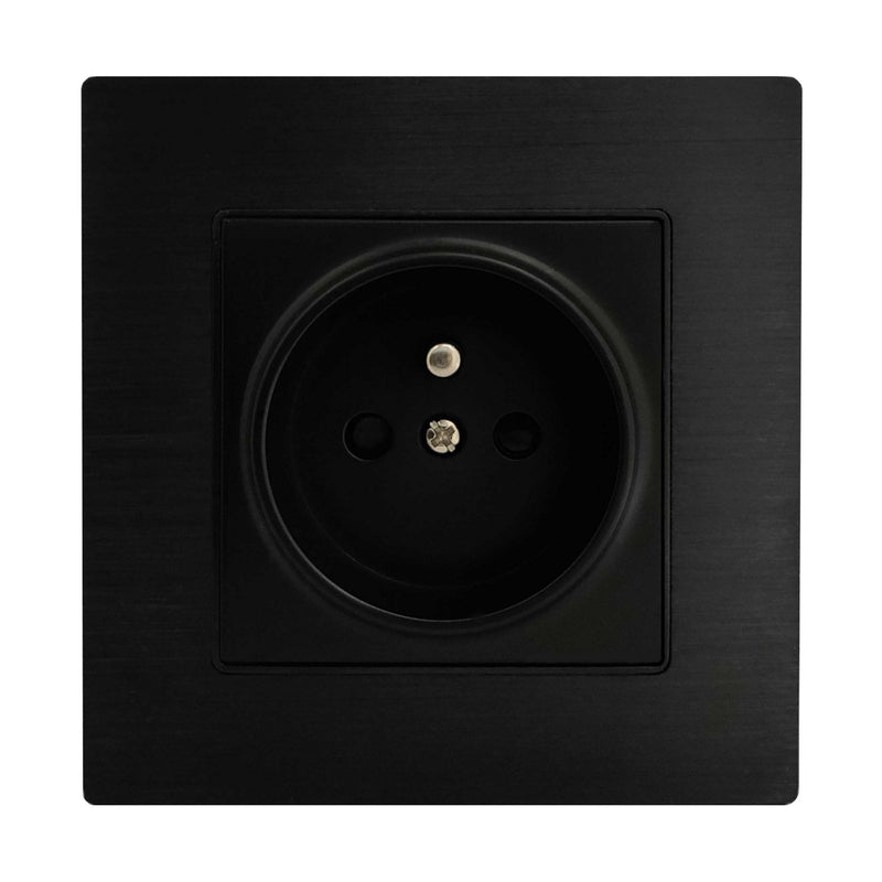 Single French EU 16A 2-Pin AC Wall Power Socket in Black Brushed Alum Frame & Black Centre