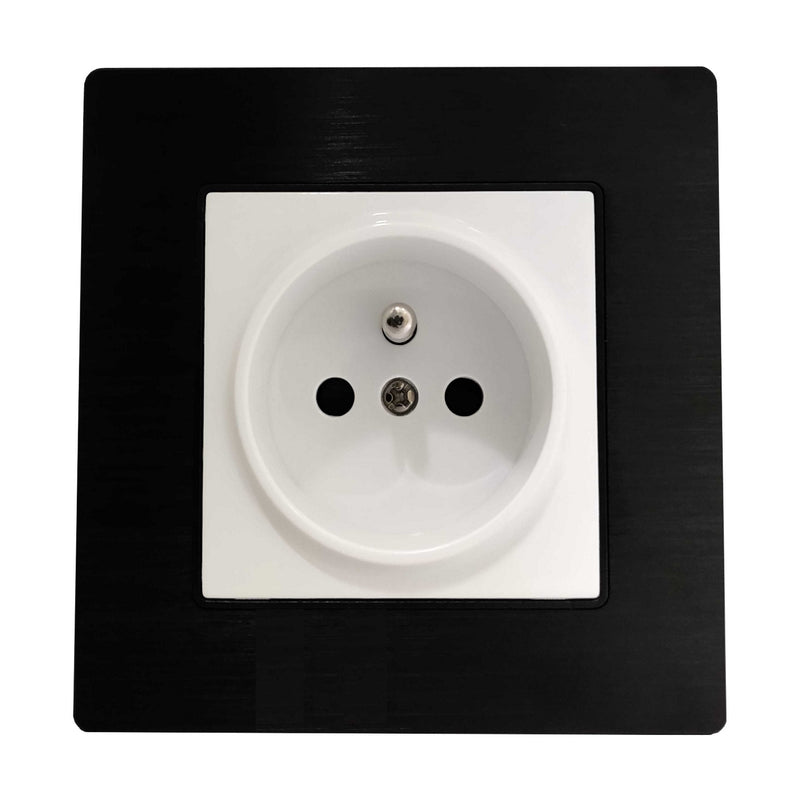 Single French EU 16A 2-Pin AC Wall Power Socket in Black Brushed Alum Frame & White Centre