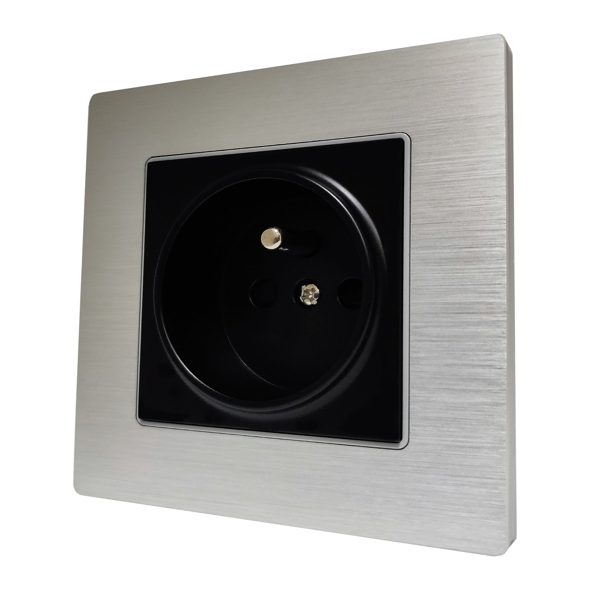 Single French EU 16A 2-Pin AC Wall Power Socket in Silver Brushed Alum Frame & Black Centre