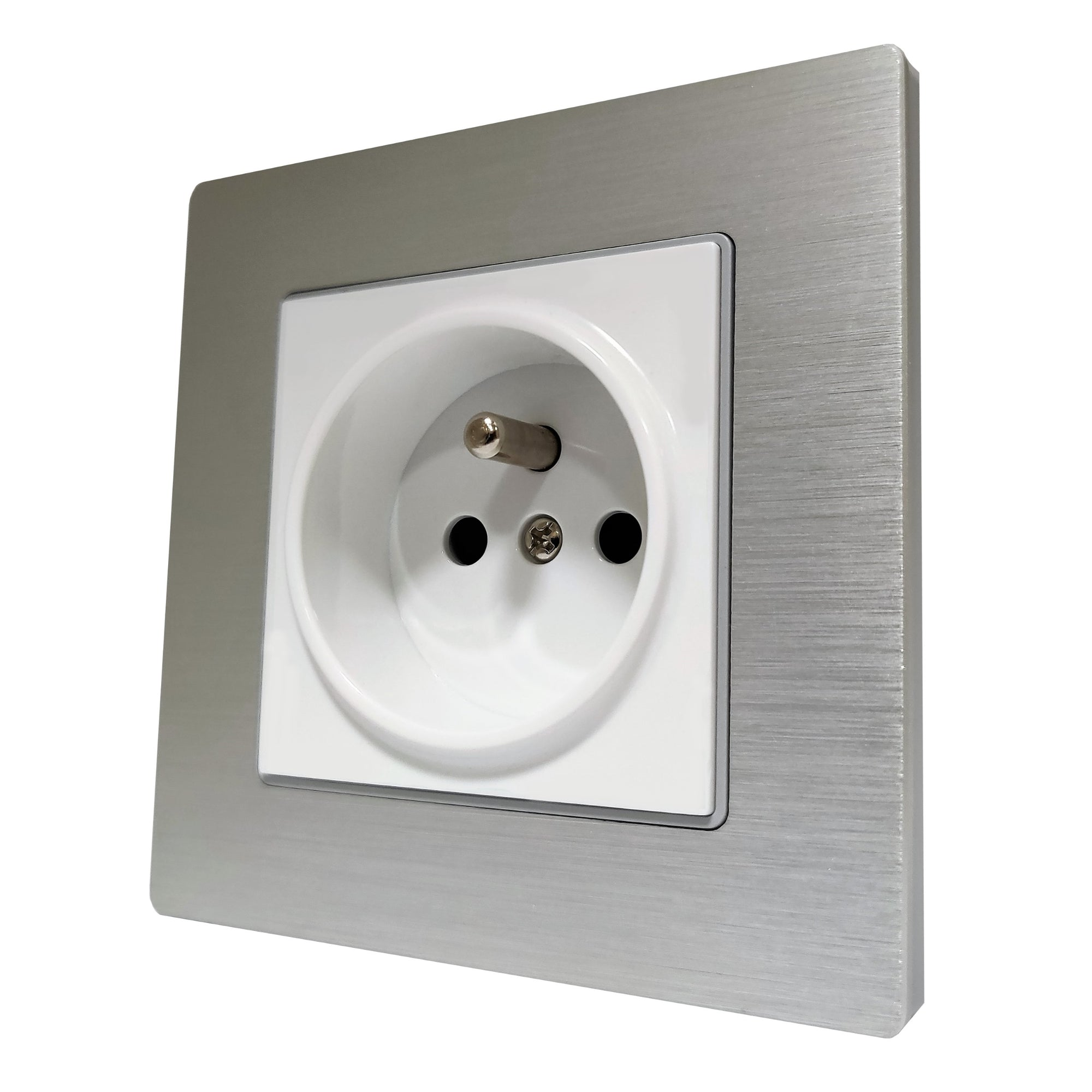 Single French EU 16A 2-Pin AC Wall Power Socket in Silver Brushed Alum Frame & White Centre