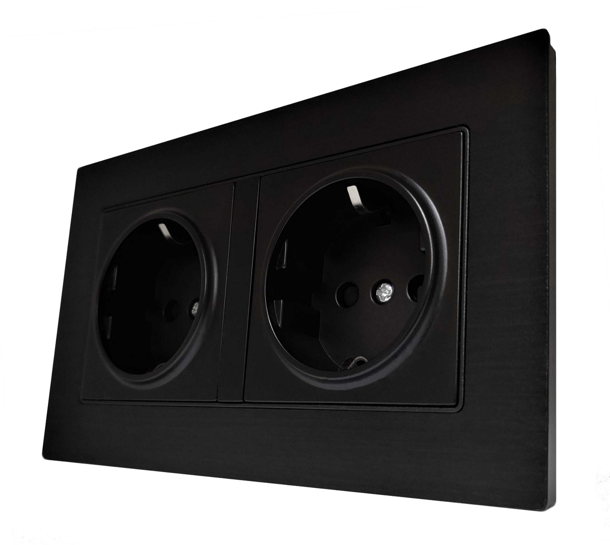 Double Schuko EU 16A 2-Pin AC Wall Power Socket in Black Brushed Alum Frame & Black Centre