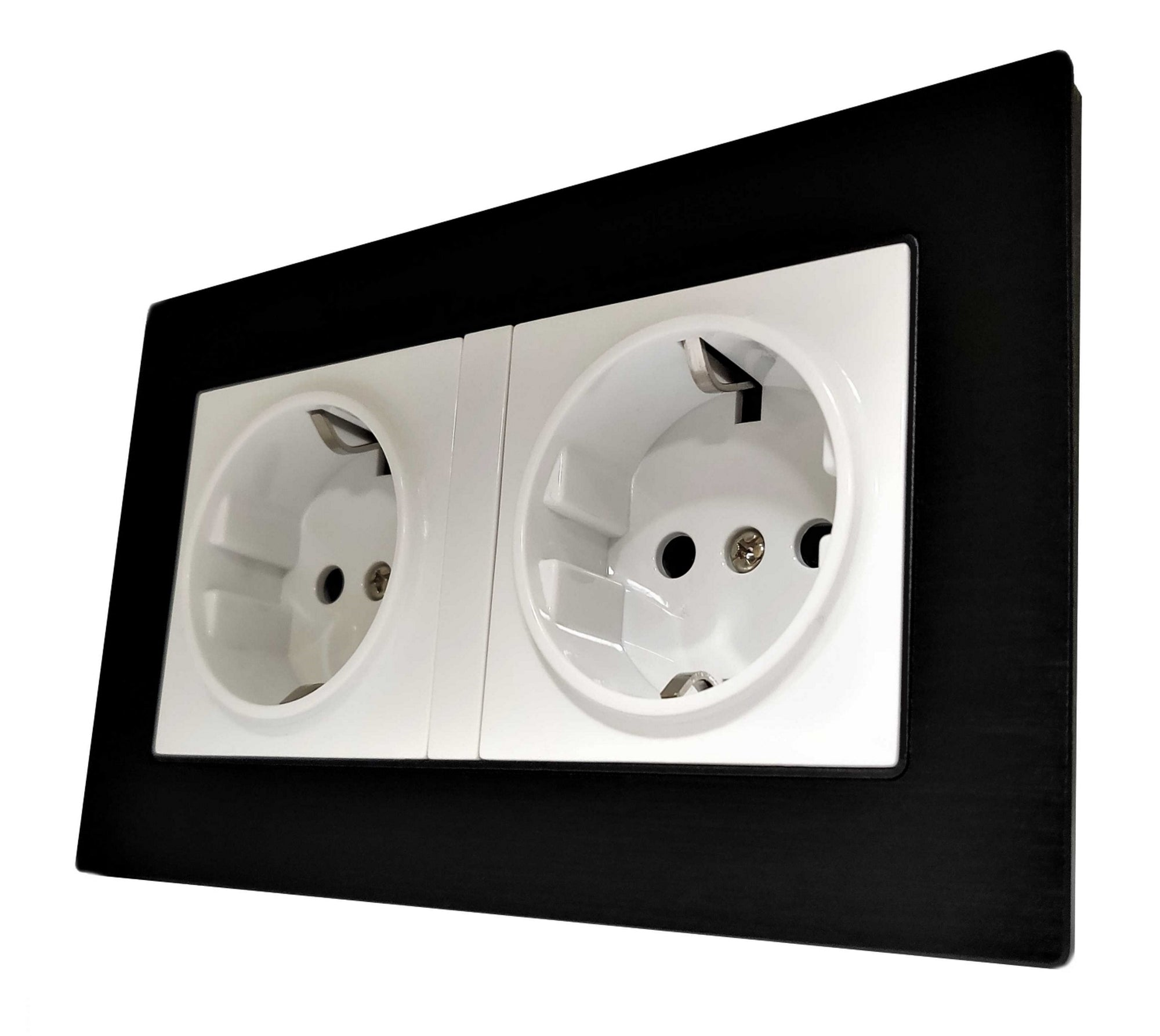 Double Schuko EU 16A 2-Pin AC Wall Power Socket in Black Brushed Alum Frame & White Centre
