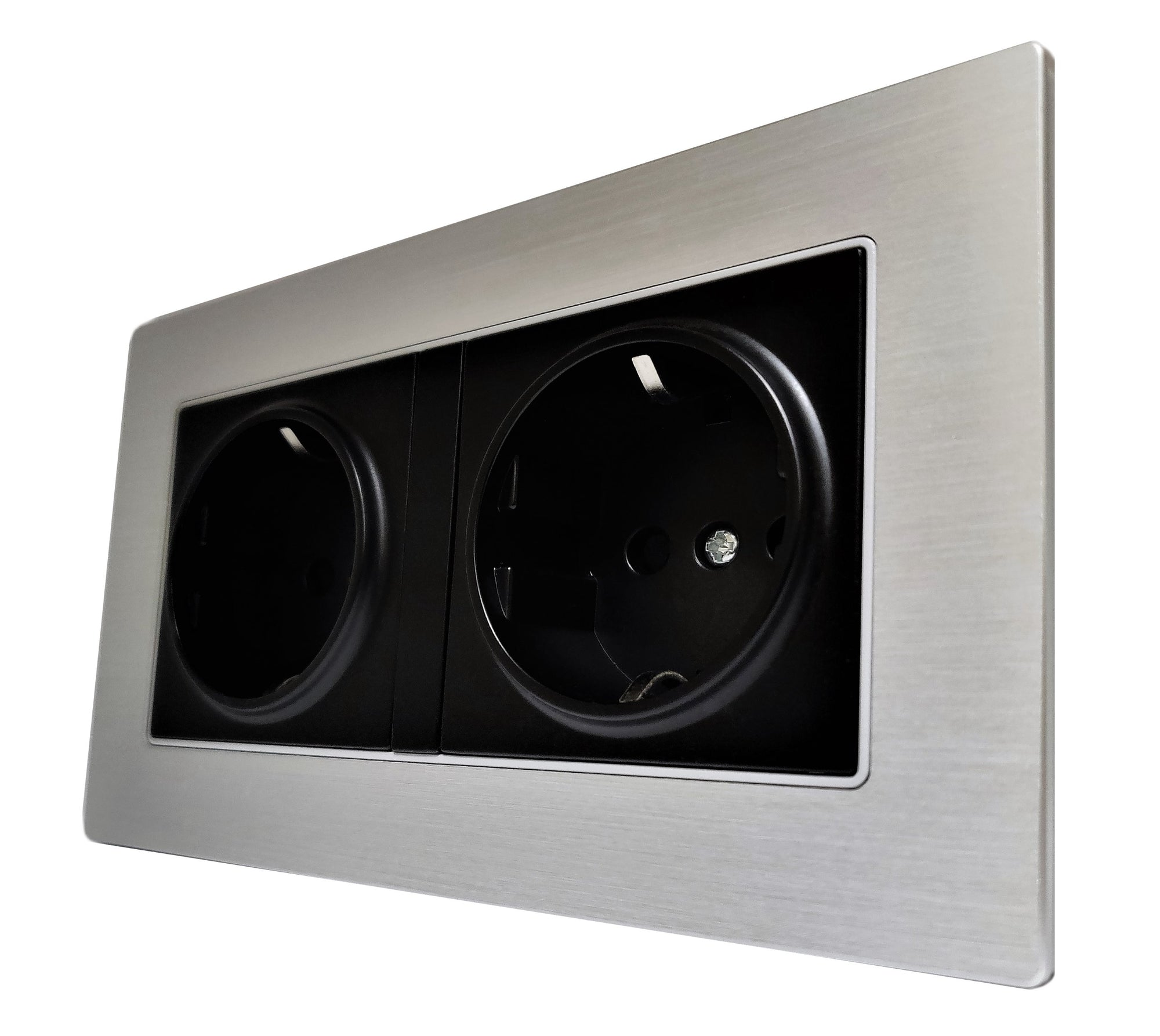 Double Schuko EU 16A 2-Pin AC Wall Power Socket in Silver Brushed Alum Frame & Black Centre