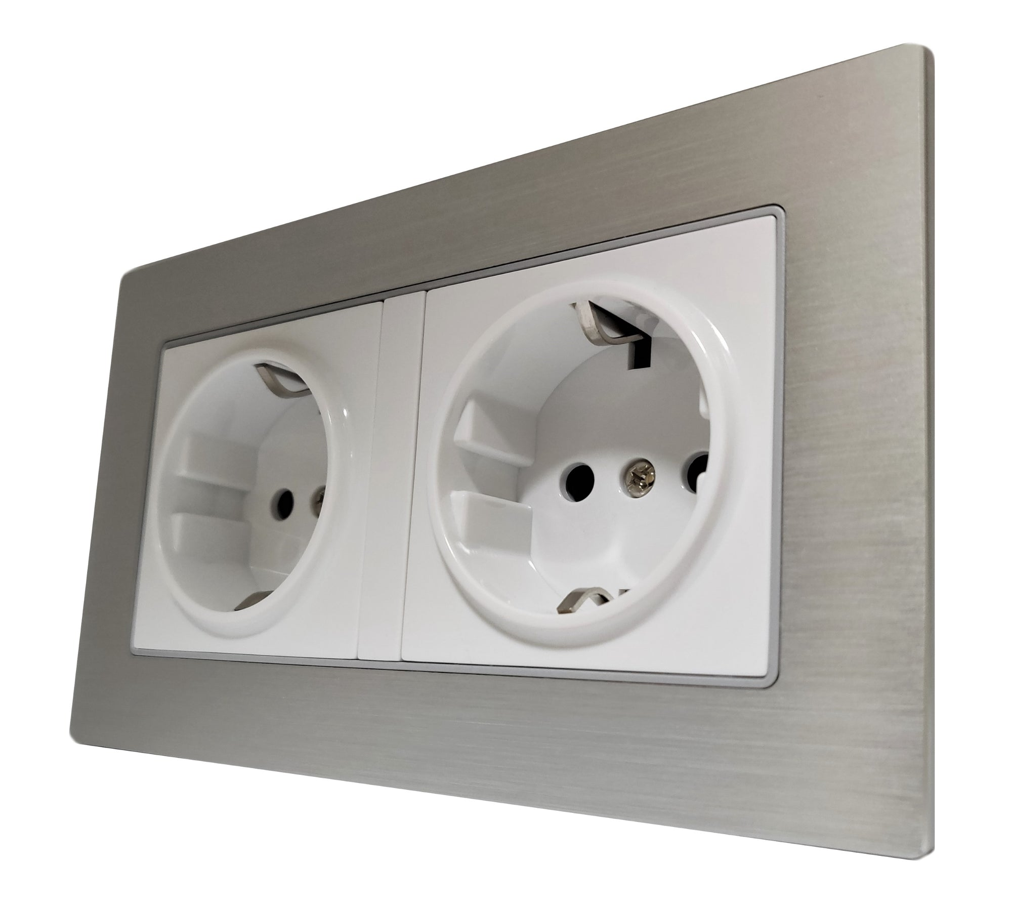 Double Schuko EU 16A 2-Pin AC Wall Power Socket in Silver Brushed Alum Frame & White Centre