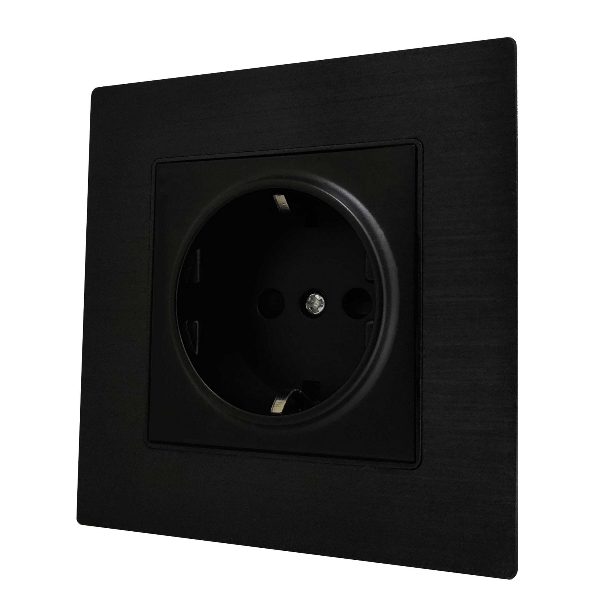 Single Schuko EU 16A 2-Pin AC Wall Power Socket in Black Brushed Alum Frame & Black Centre