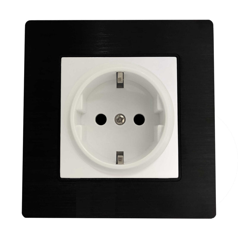 Single Schuko EU 16A 2-Pin AC Wall Power Socket in Black Brushed Alum Frame & White Centre