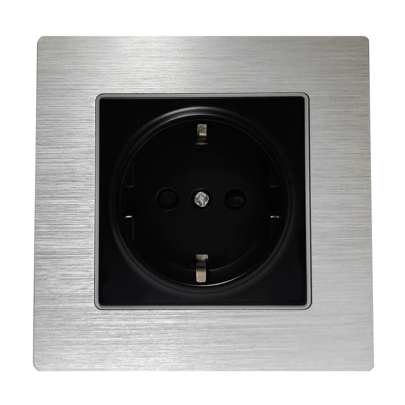 Single Schuko EU 16A 2-Pin AC Wall Power Socket in Silver Brushed Alum Frame & Black Centre