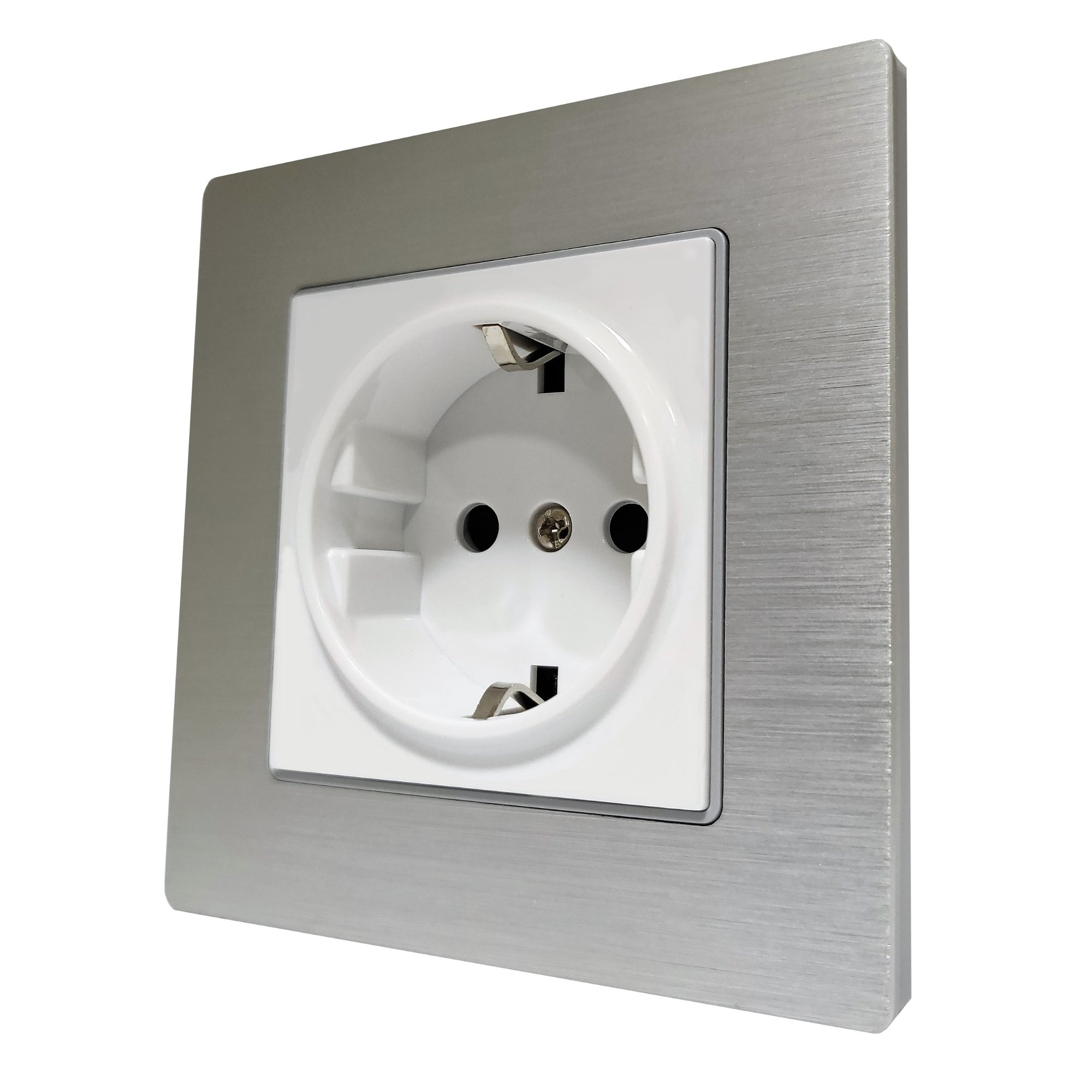 Single Schuko EU 16A 2-Pin AC Wall Power Socket in Silver Brushed Alum Frame & White Centre