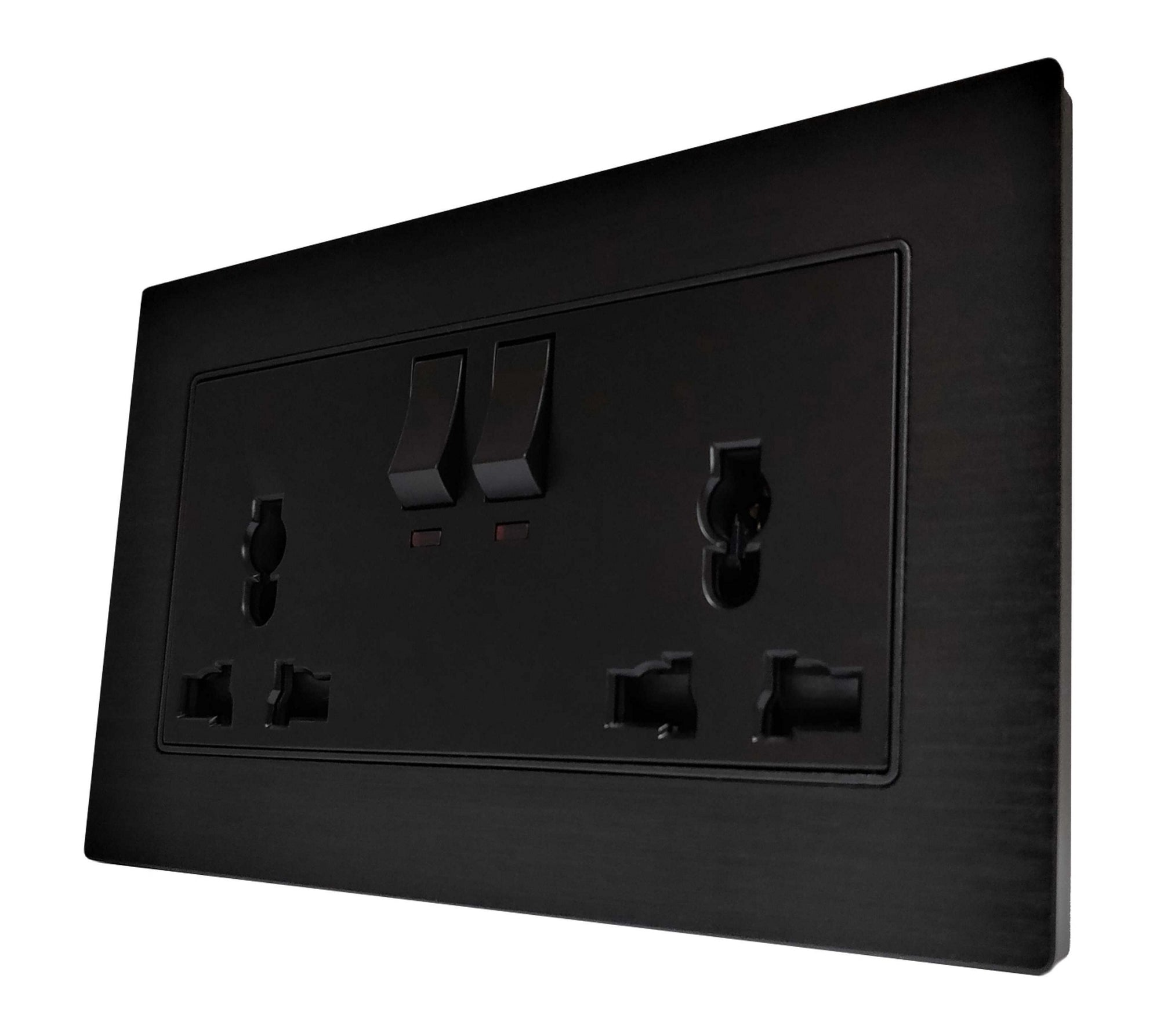 Double Universal Multi-Function AC Wall Power Socket in Black Brushed Alum Frame & Black Centre