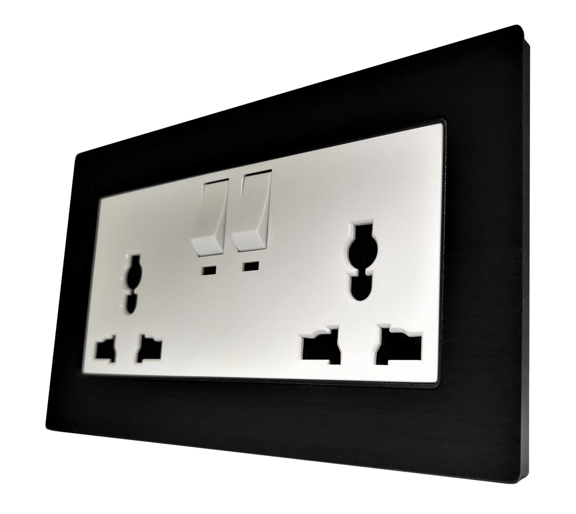 Double Universal Multi-Function AC Wall Power Socket in Black Brushed Alum Frame & White Centre