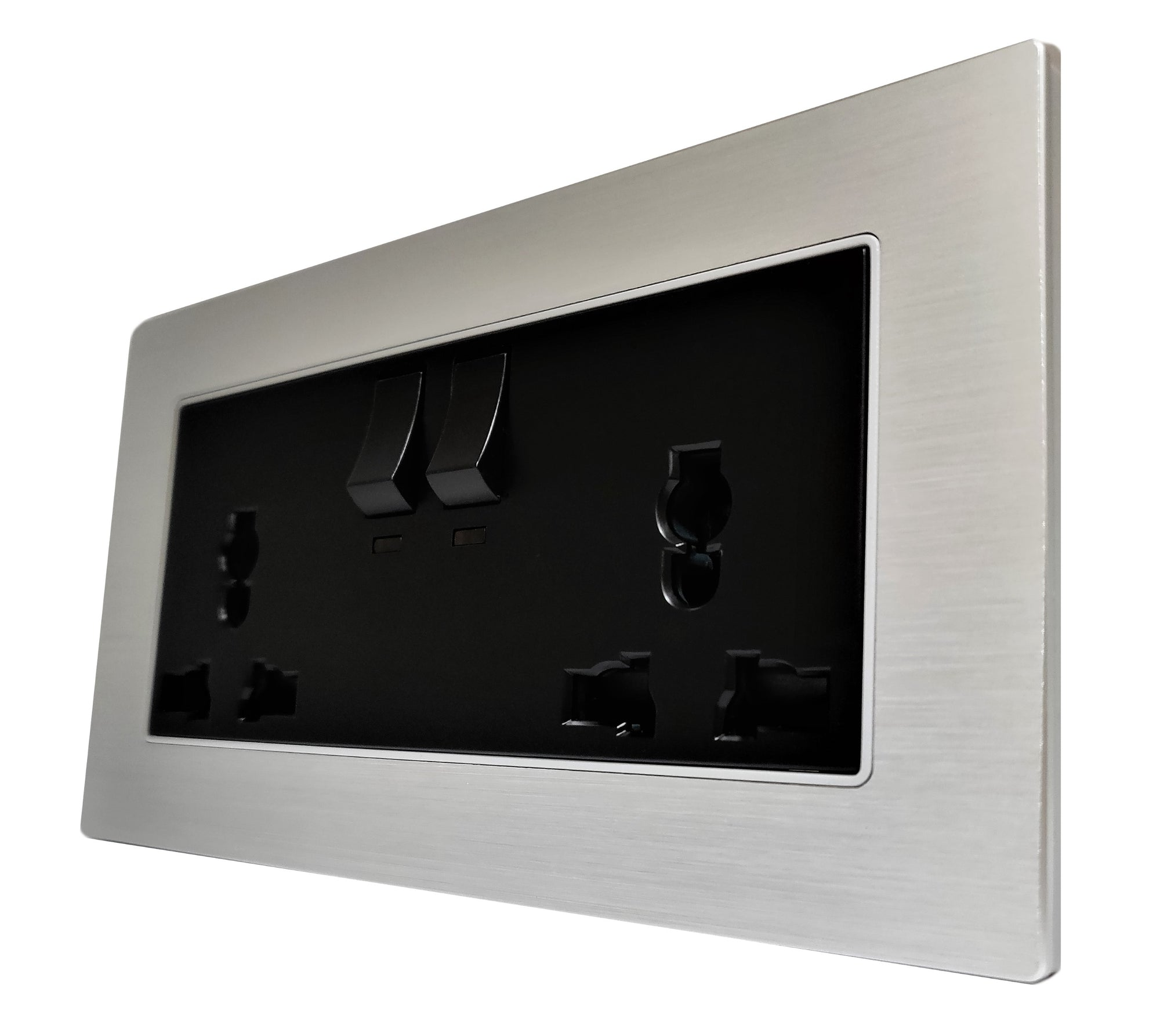 Double Universal Multi-Function AC Wall Power Socket in Silver Brushed Alum Frame & Black Centre