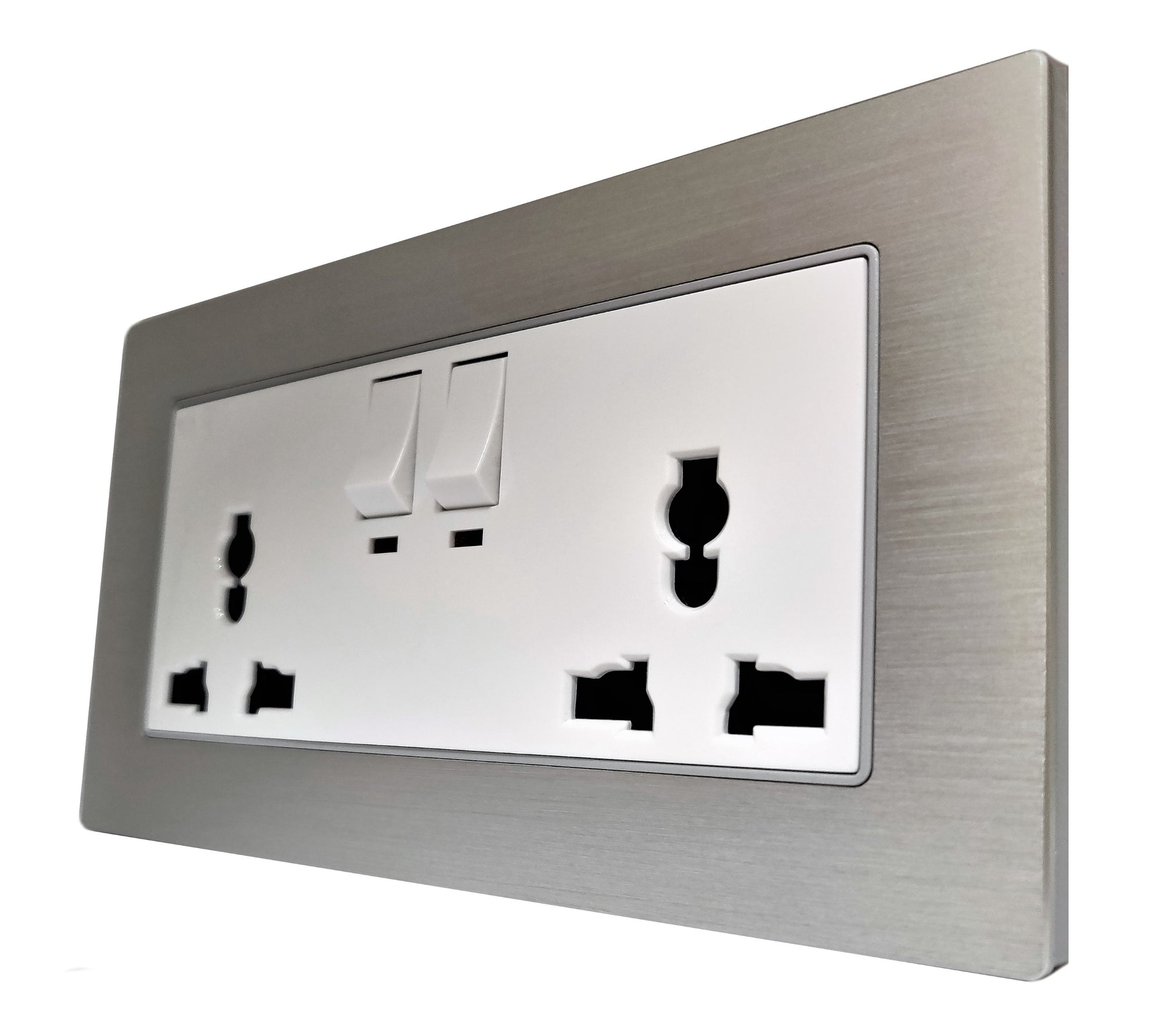 Double Universal Multi-Function AC Wall Power Socket in Silver Brushed Alum Frame & White Centre
