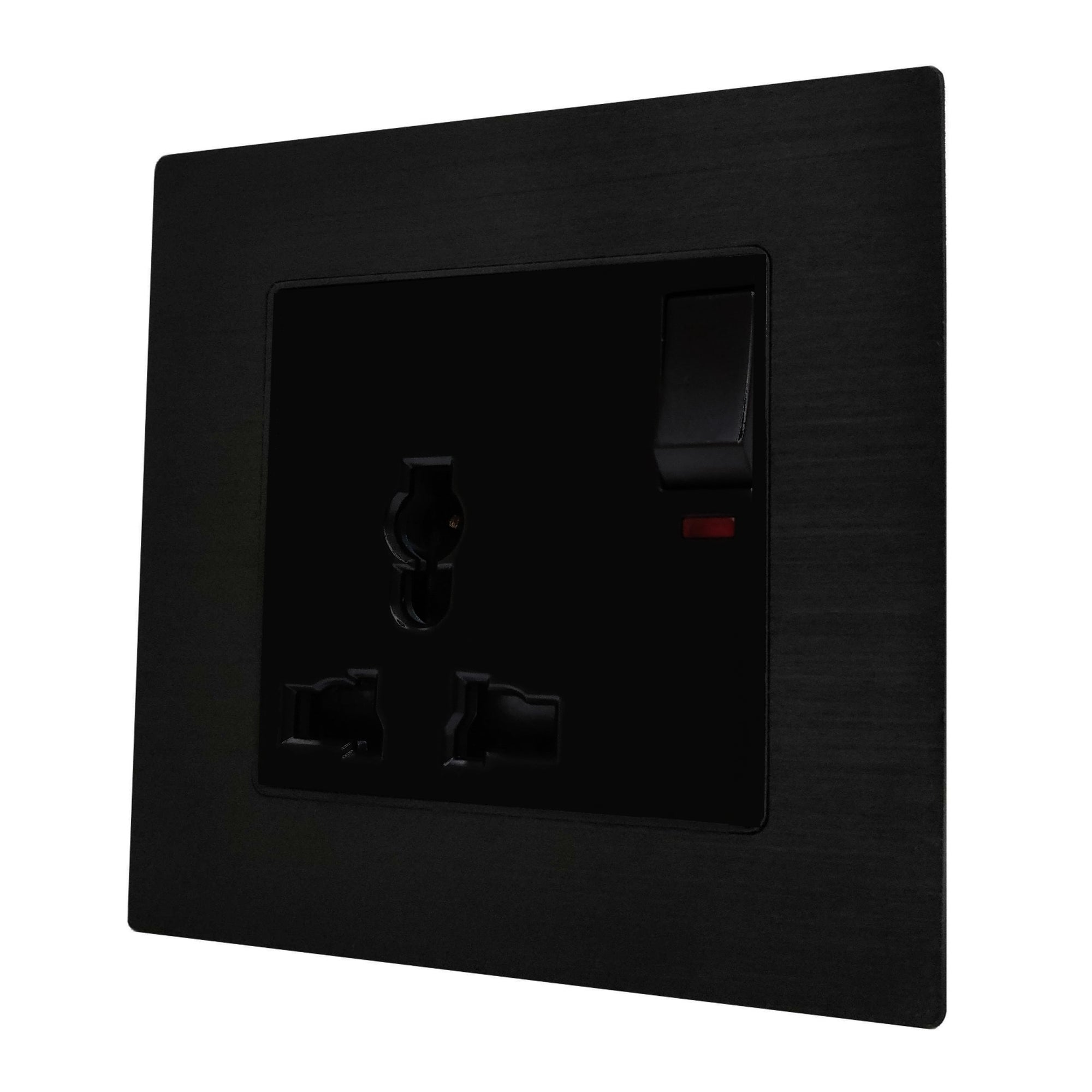 Single Universal Multi-Function AC Wall Power Socket in Black Brushed Alum Frame & Black Centre