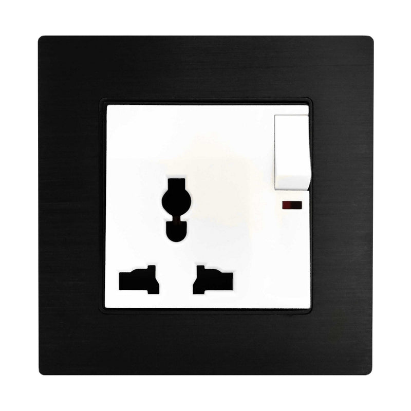 Single Universal Multi-Function AC Wall Power Socket in Black Brushed Alum Frame & White Centre