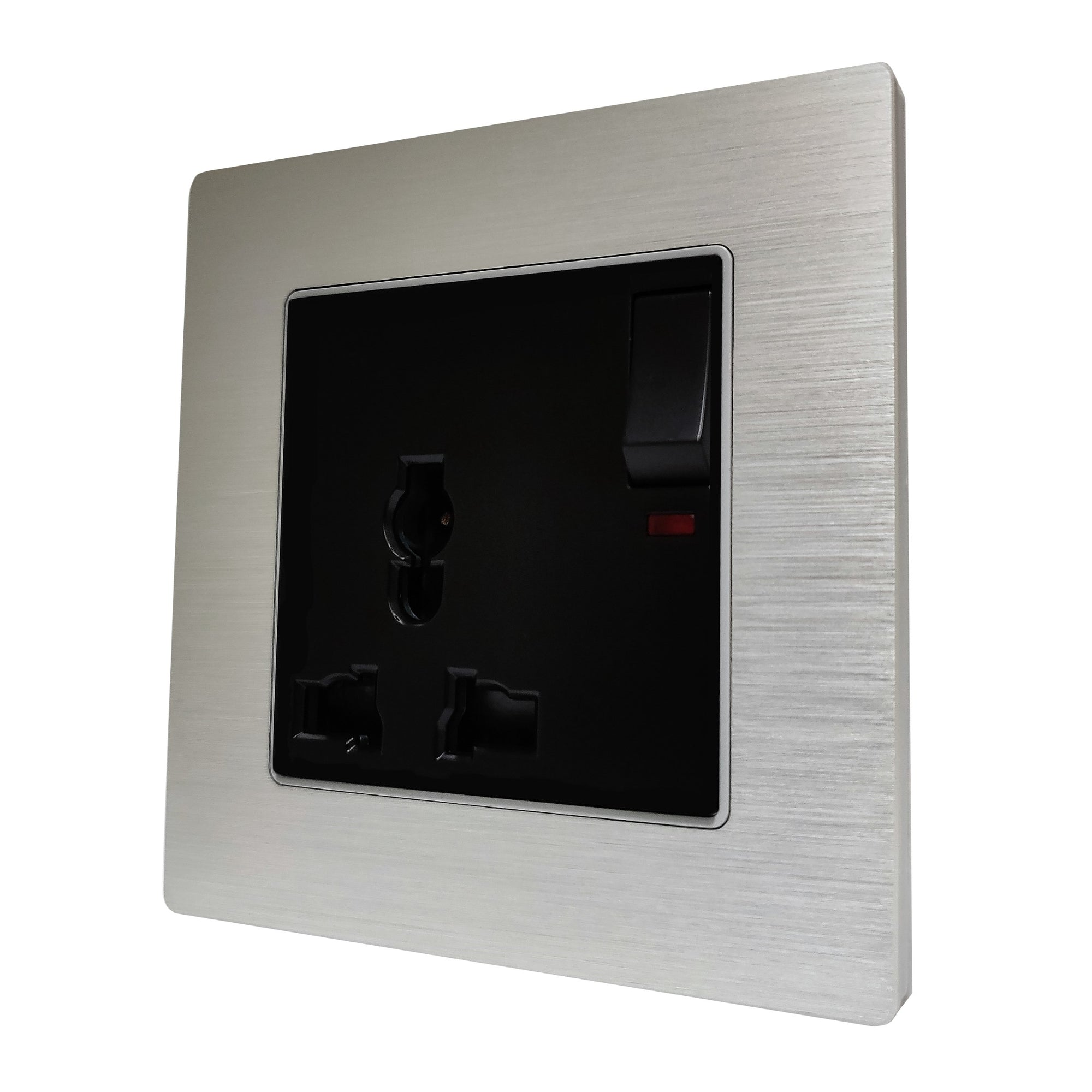 Single Universal Multi-Function AC Wall Power Socket in Silver Brushed Alum Frame & Black Centre