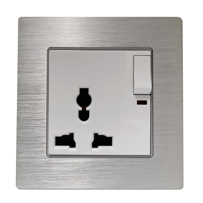 Single Universal Multi-Function AC Wall Power Socket in Silver Brushed Alum Frame & White Centre