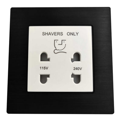 Single Shaver AC Wall Power Socket in Black Brushed Alum Frame & White Centre