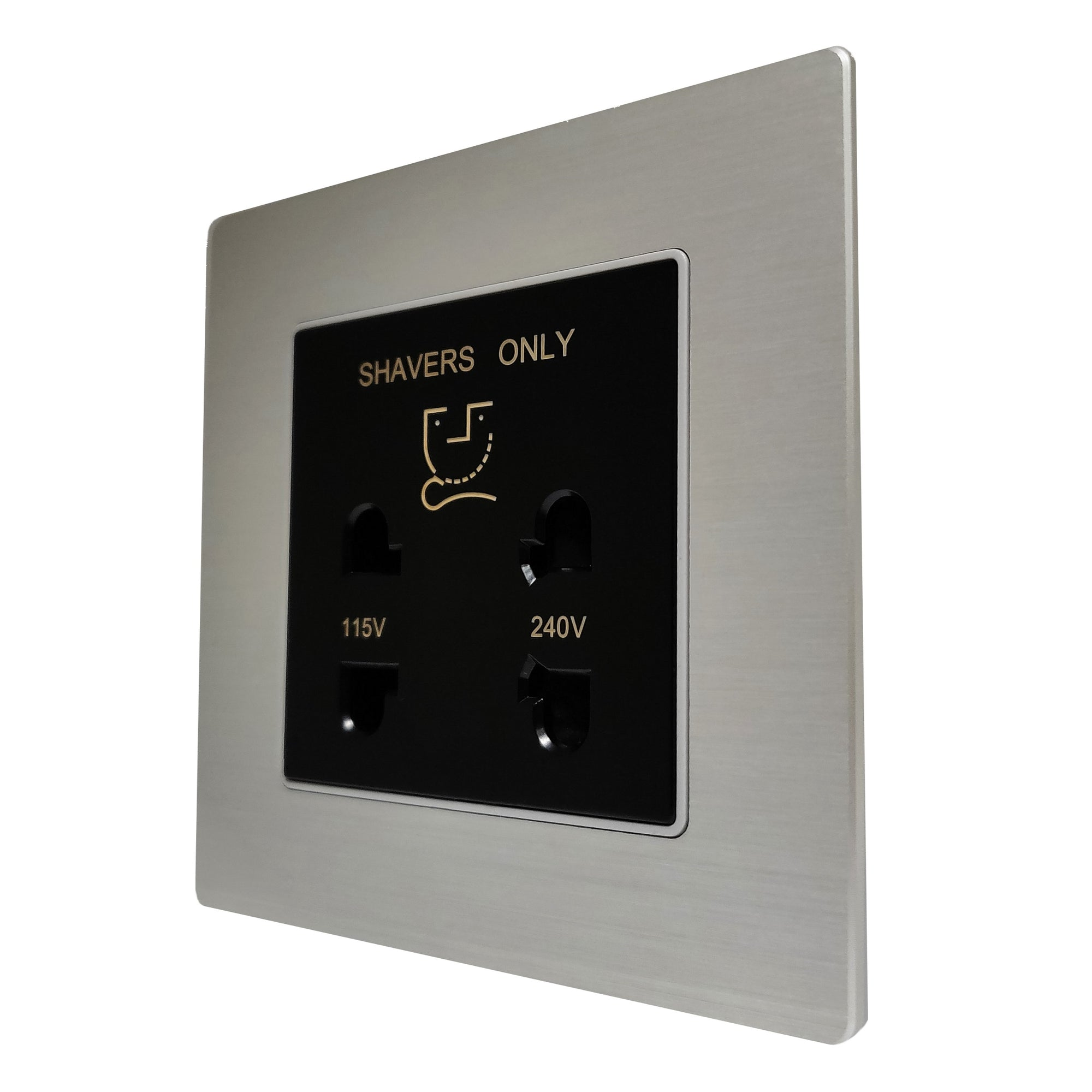 Single Shaver AC Wall Power Socket in Silver Brushed Alum Frame & Black Centre