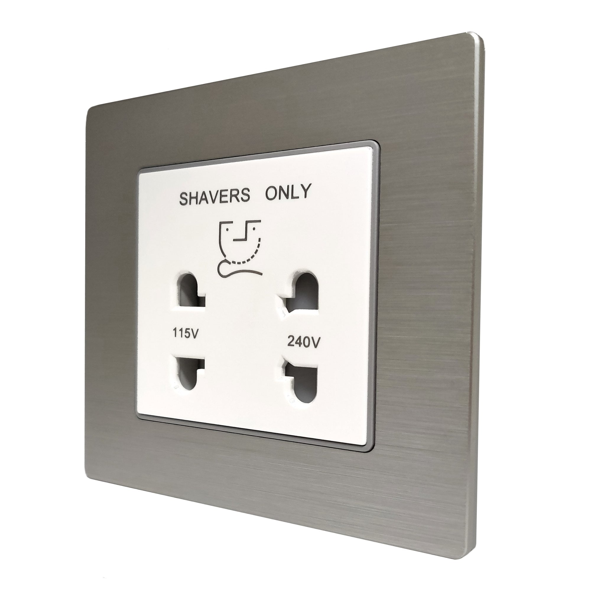 Single Shaver AC Wall Power Socket in Silver Brushed Alum Frame & White Centre