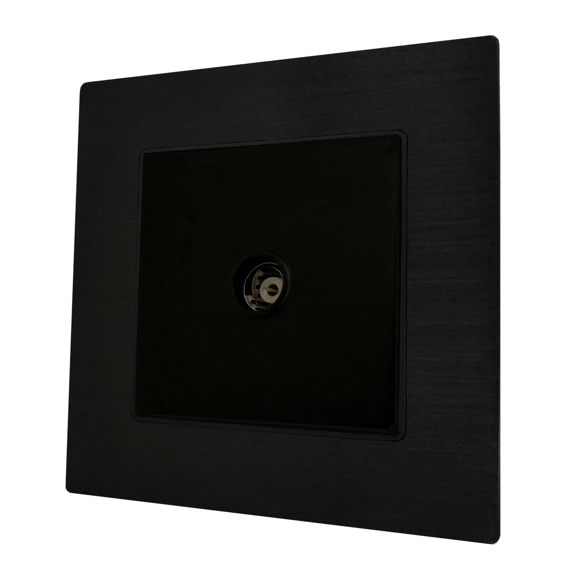 Single TV Antenna Wall Socket Coaxial Female in Black Brushed Alum Frame & Black Centre