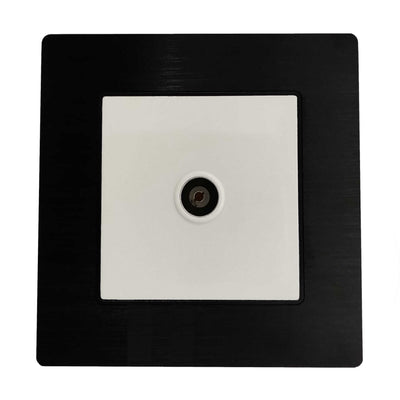 Single TV Antenna Wall Socket Coaxial Female in Black Brushed Alum Frame & White Centre