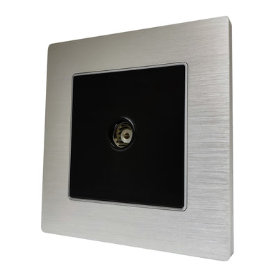 Single TV Antenna Wall Socket Coaxial Female in Silver Brushed Alum Frame & Black Centre