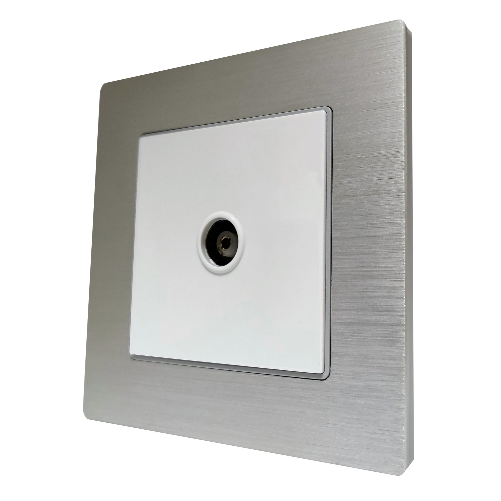 Single TV Antenna Wall Socket Coaxial Female in Silver Brushed Alum Frame & White Centre
