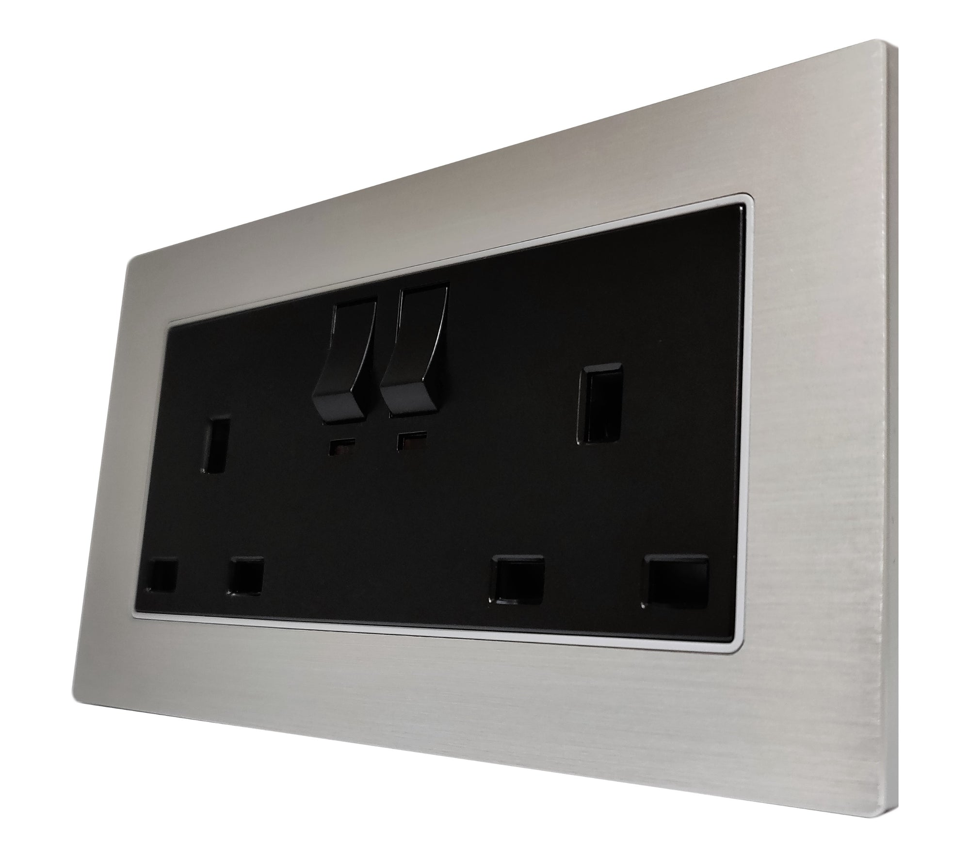Double UK 13A 3-Pin AC Wall Power Socket in Silver Brushed Alum Frame & Black Centre