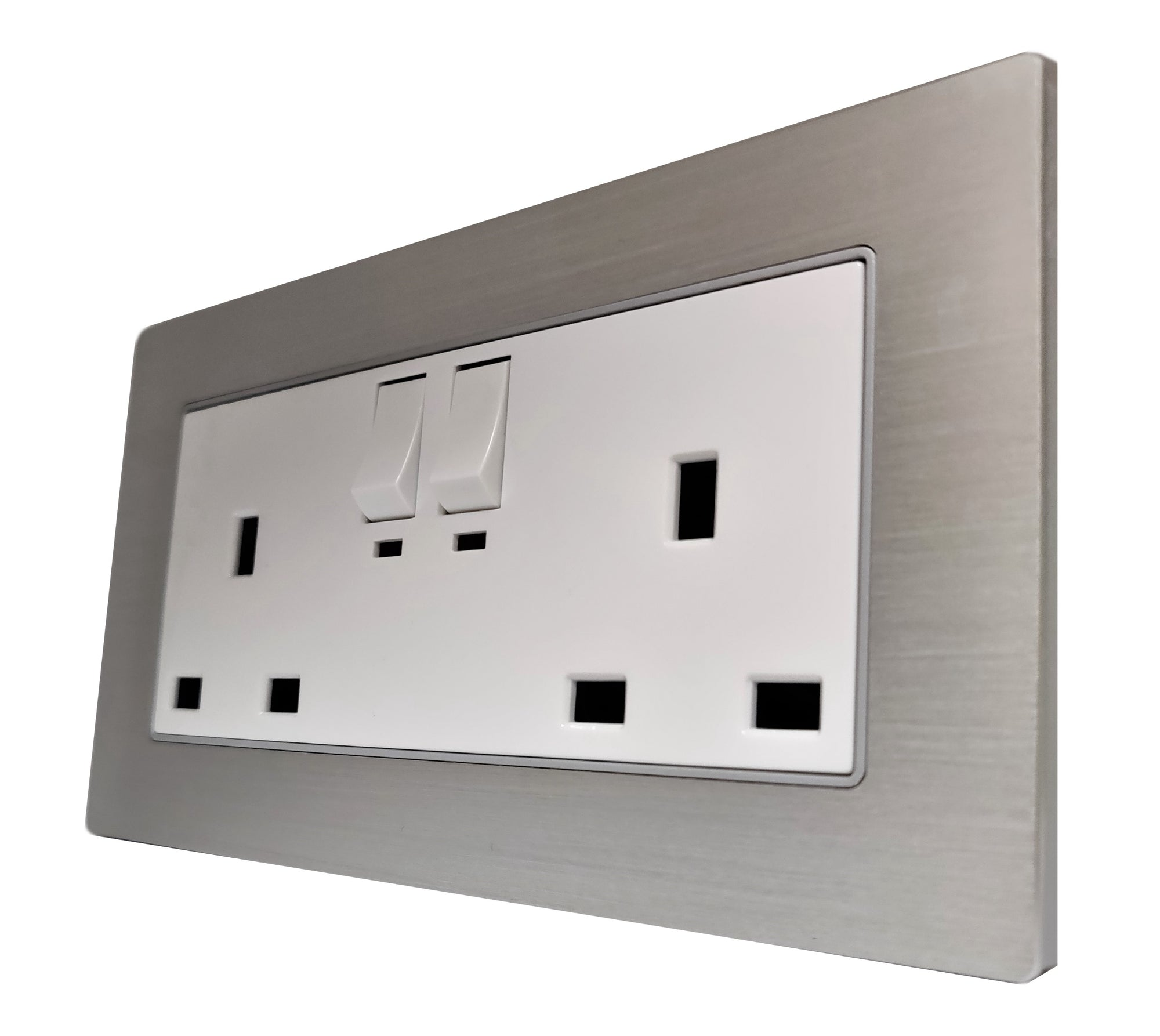 Double UK 13A 3-Pin AC Wall Power Socket in  Silver Brushed Alum Frame & White Centre