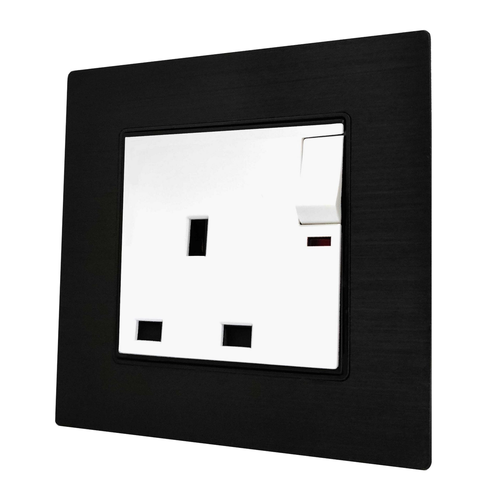 Single UK 13A 3-Pin AC Wall Power Socket in  Black Brushed Alum Frame & White Centre