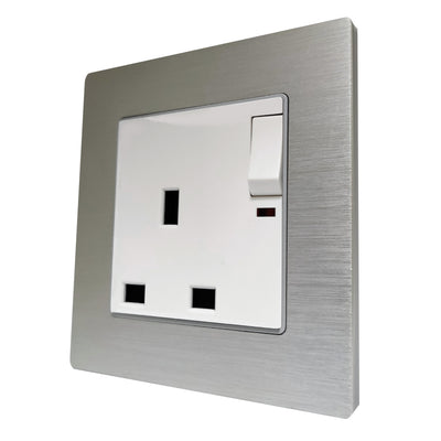 Single UK 13A 3-Pin AC Wall Power Socket in  Silver Brushed Alum Frame & White Centre