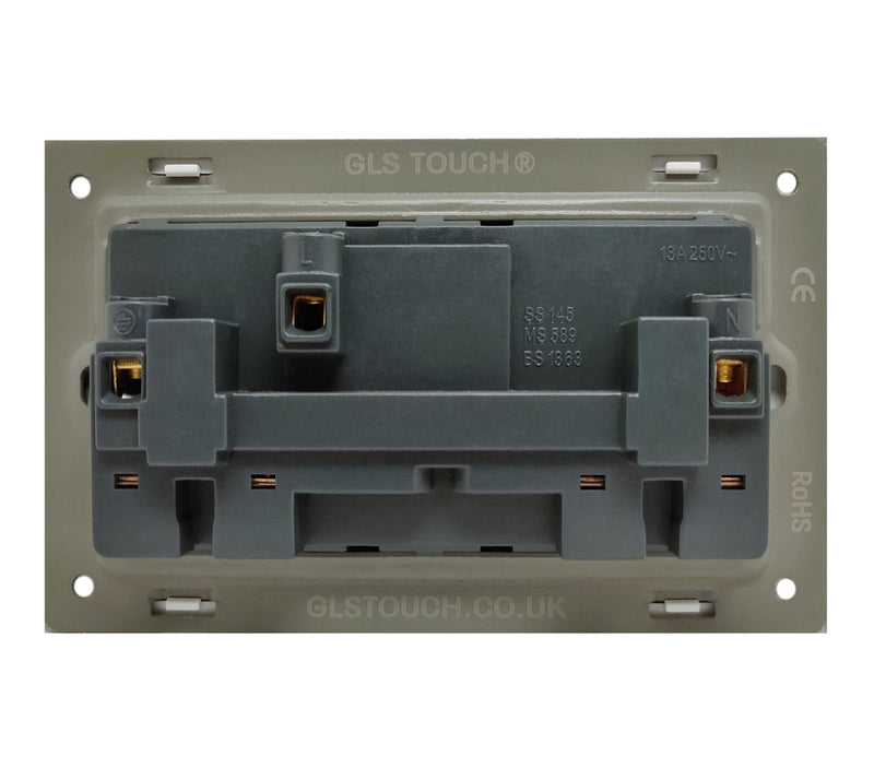 Double UK 13A 3-Pin AC Wall Power Socket in  Black Brushed Alum Frame & White Centre