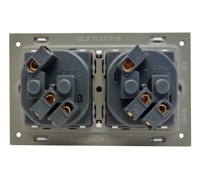 Double French EU 16A 2-Pin AC Wall Power Socket in Black Brushed Alum Frame & Black Centre