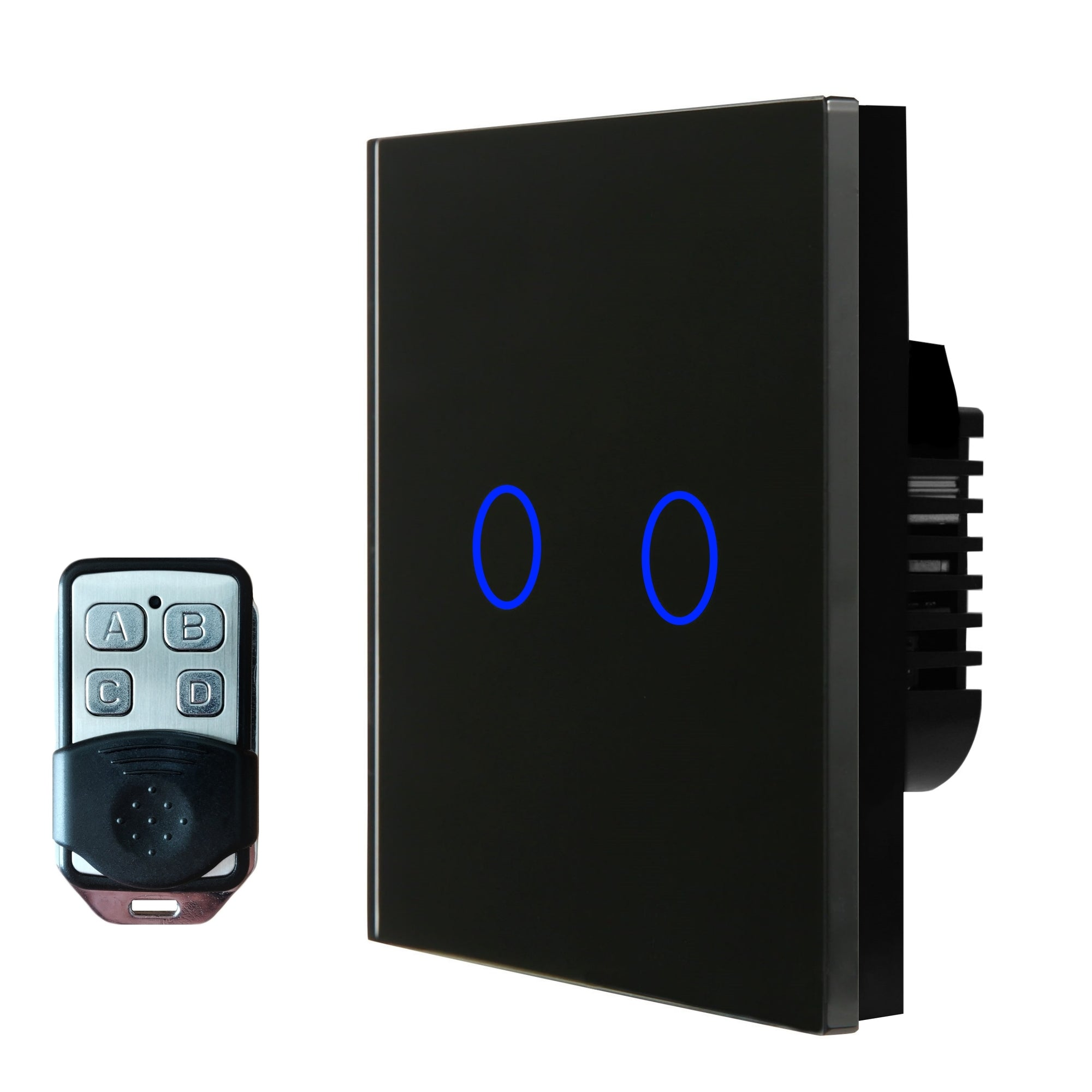 Black Glass Touch Panel Light Switch 2 Gang 1 Way with Remote